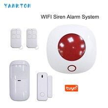 2020 New Tuya 433MHz Wireless WIFI Siren  Alarm System Smart  Remote Control Wireless Home Security&Burglar Alarm System Kit wireless remote control controller keyfobs keychain 433mhz for our alarm system
