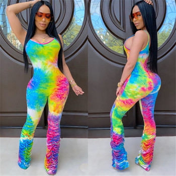 AA Tie Dyeing Print Jumpsuit Rompers Sexy Women Strap Flare Pants Stacked Joggers Pleated Pants Trousers Sports Slim Jumpsuit