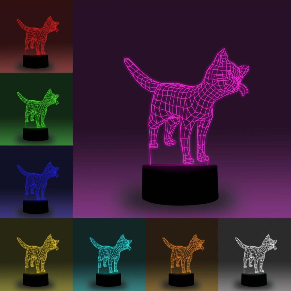 NiteApps 3D Standing Kitten/Cat RGB LED Night Light Desk Table Illusion Lamp Holiday Birthday Gift APP/Touch Control
