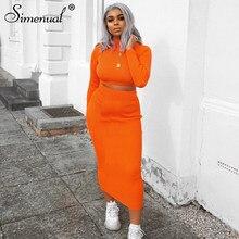 Simenual-Conjuntos de dos piezas para mujer, ropa acanalada de manga larga, Top corto y falda entallada informal, otoño 2021