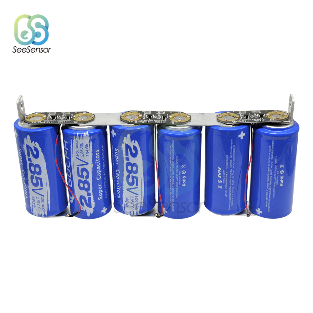 6Pcs/set Super Farad Capacitor 2.85V 3400F Super Capacitor Ultracapacitor With Protection Board For Automotive Auto Car