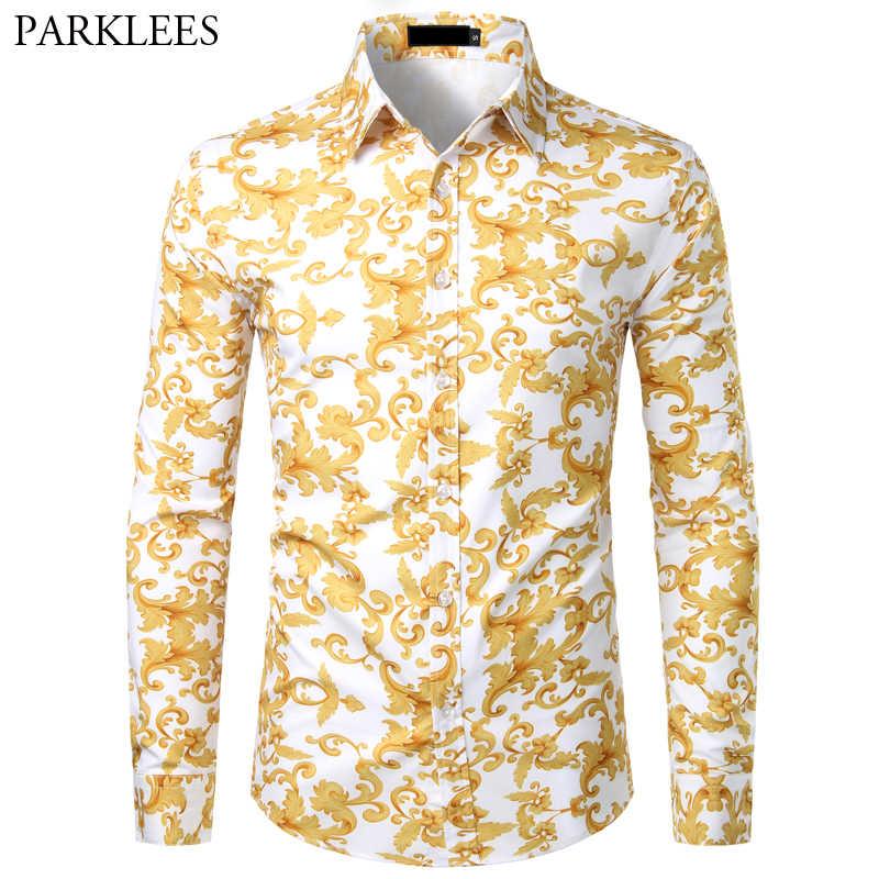 Camisa estampada barroca para hombre moda elegante diseñador hombres de manga larga de lujo hombres Camisas Casual Delgado ajuste fiesta de graduación hombres Chemise USA