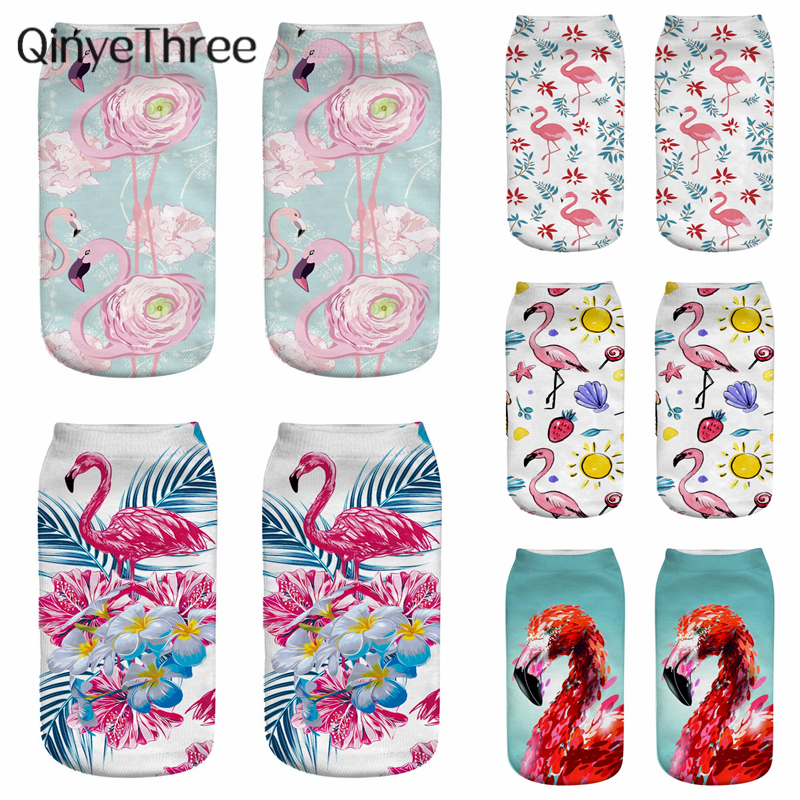 New Cartoon Printing Flamingos Oil Painting Socks Art Funny Harajuku 3D Printed Women Low Cut Ankle Short Sport Sock Dropship