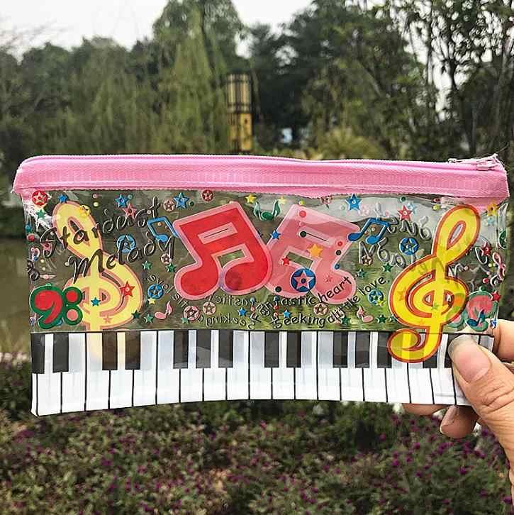 1 Uds. Caja de lápices de música Linda notas de música Teclado de Piano bolsas de lápices transparentes de plástico para estudiantes papelería regalos escolares de oficina