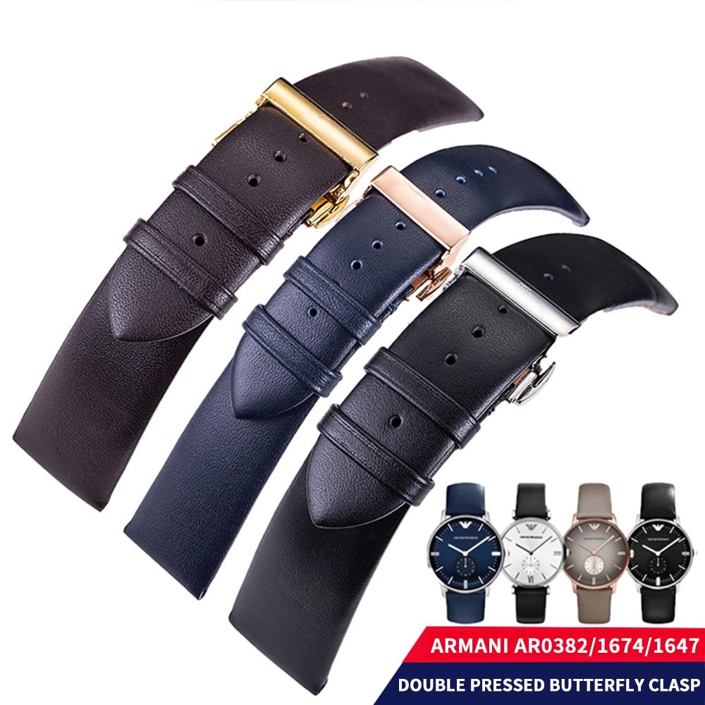 Висококачествени мъжки дамски каишки за часовници от естествена кожа за Armani 20 / 22mm естествена кожа лента за часовници черен / дълбоко кафяв / син + инструменти