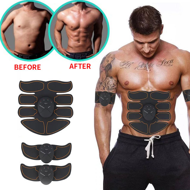 EMS Muscle Stimulator Trainer Smart Fitness Abdominal Training Stimulator Body Shaping Slimming Belt Unisex Stickers Massager 1