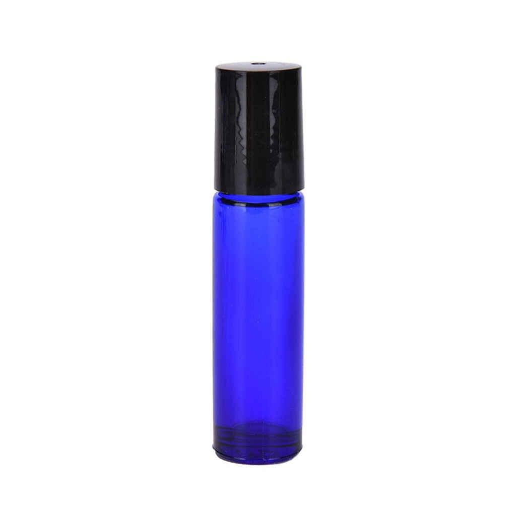 1 セットアロマエッセンシャルオイルローラーボトル 10 ミリリットルガラスロールとボトルに詰め替えボトル金属ボール & 起毛キャップ