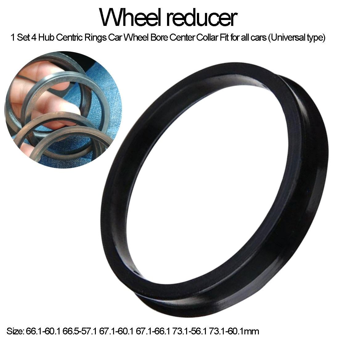 4pcs Car Wheel Bore Center Collar 66.1-60.1 66.5-57.1 67.1-60.1 67.1-66.1 73.1-56.1 73.1-60.1mm Hub Centric Ring