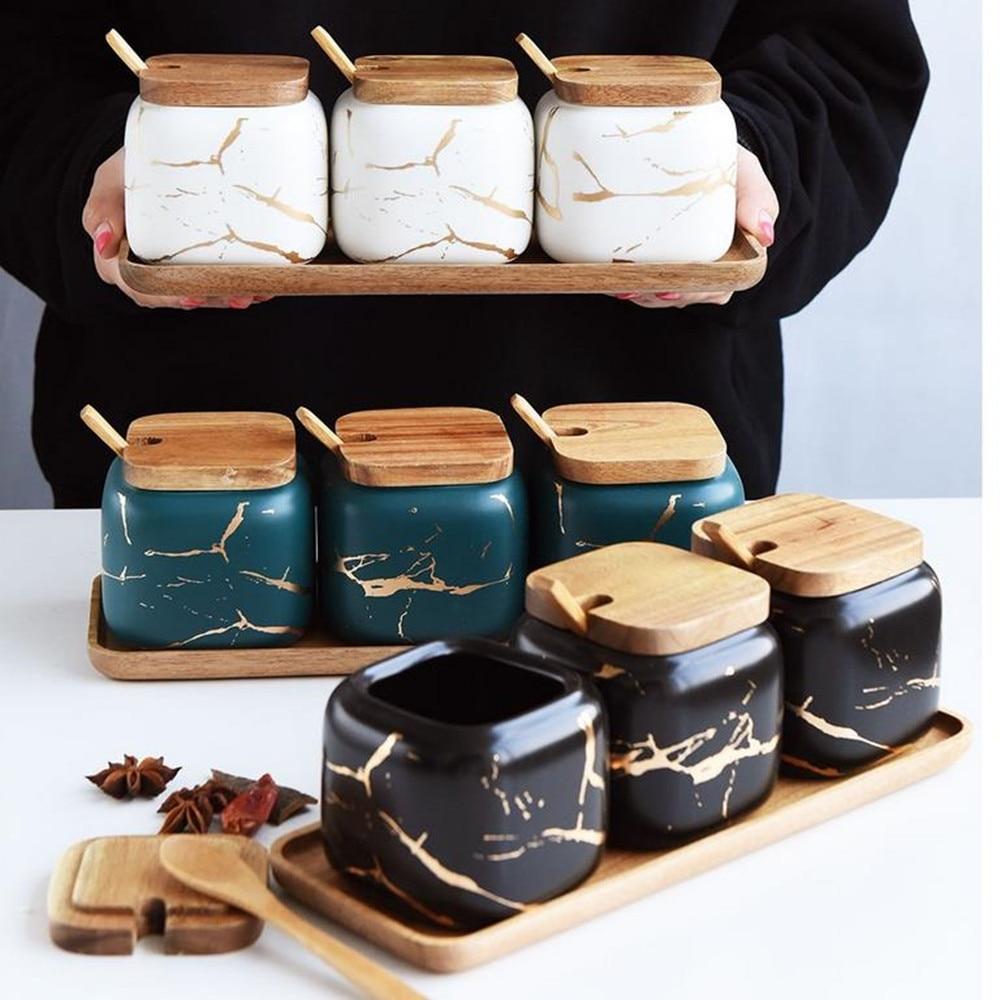 3pcs/set Salt Bottle Marble Pattern Home Kitchen Seasoning Tool Sugar Bottle Nordic Ceramic Seasoning Jar