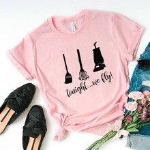 Хэллоуин рубашка, женская модная футболка с принтом, футболка с коротким рукавом, хлопок, женские футболки