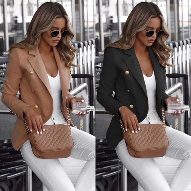2019 New Explosion Women's Clothing Autumn Hot Long Sleeve Double-breasted Solid Color Collar Small Suit