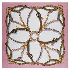 Image 5 - 新しいベルトチェーン 130 センチメートル正方形スカーフ高級ブランドのスカーフ女性ツイルシルクスカーフ女性のハンカチショールecharpe tuaban