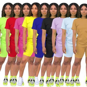 Chándal deportivo para mujer, Camiseta corta de manga corta de verano sólida, pantalones cortos para motorista, trajes para correr, conjunto activo de dos piezas