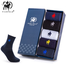 5 Pair PIERPOLO High Quality Cotton Mens Socks Brand Embroidery Men Business Winter Warm For Gifts Male Meias 2019 New