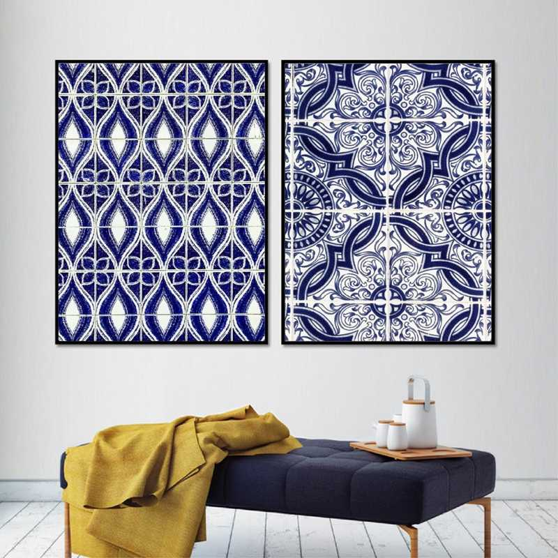 Moroccan Wall Art Canvas Painting Pictures Blue Arabic Pattern Tiles Posters and Prints Portugal Artwork Decoration Home Decor
