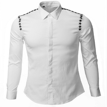 Original Design Male Fashion Five-star Patchwork Long Sleeve Shirt Model T Shows Fashion Shirts White Black