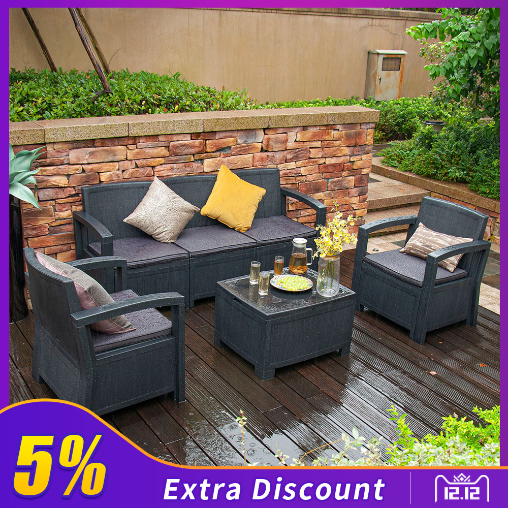 Furgle Outdoor Patio Sectional Conversation Sofa Set Waterproof PE Furniture Set Cushions And Coffee Table For Backyard Pool