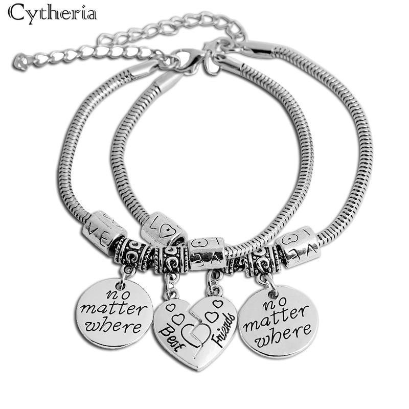 Лучший друг, независимо от того, где браслеты, простые круглые браслеты, винтажные, сердце сломано 2, браслет, Женские Ювелирные изделия, подарок для лучшего друга