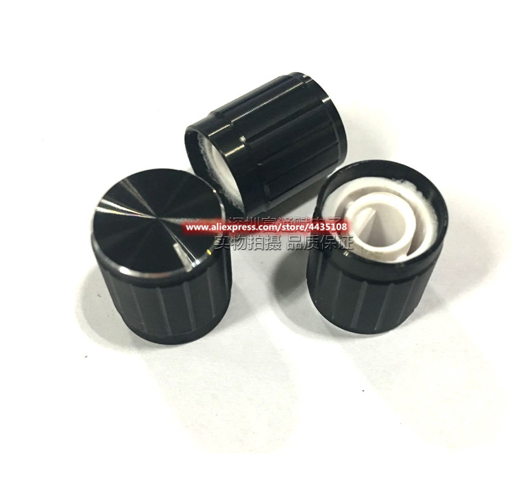 10pcs Potentiometer Cap 15mm*16.5mm Black Bright Edge Half Shaft Hole D-Shaped Inner Hole 6mm Aluminum Alloy Knob