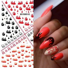 Get more info on the 1pc Water Nail Stickers Red Black Flame Cute Animal Moon Star Flower Designs Sliders For Nail Decals DIY Manicure