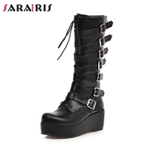 SARAIRIS New Winter Plus Size 33-46 Cool Black Decorating mid-calf Boots Women 2019 Platform Buckle Wedges Shoes Woman