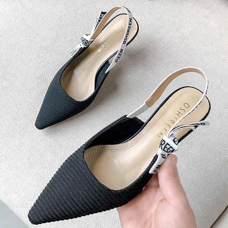 High Heel Sandal untuk Wanita Simpul Strappy Heels Sandal Musim Panas Wanita Sepatu Alphabet Sepatu Hak Tinggi Kulit Sepatu Pesta Wanita