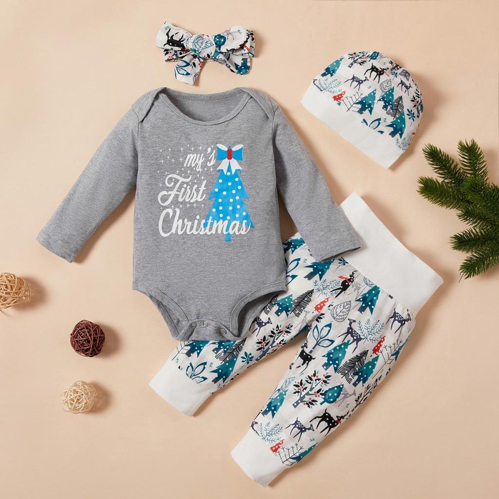 Christmas 3Pcs Newborn Baby Boys And Girls Clothes Ropa Niña одежда для новорожденных Cartoon Tops+Pants+Headbands Costume #4
