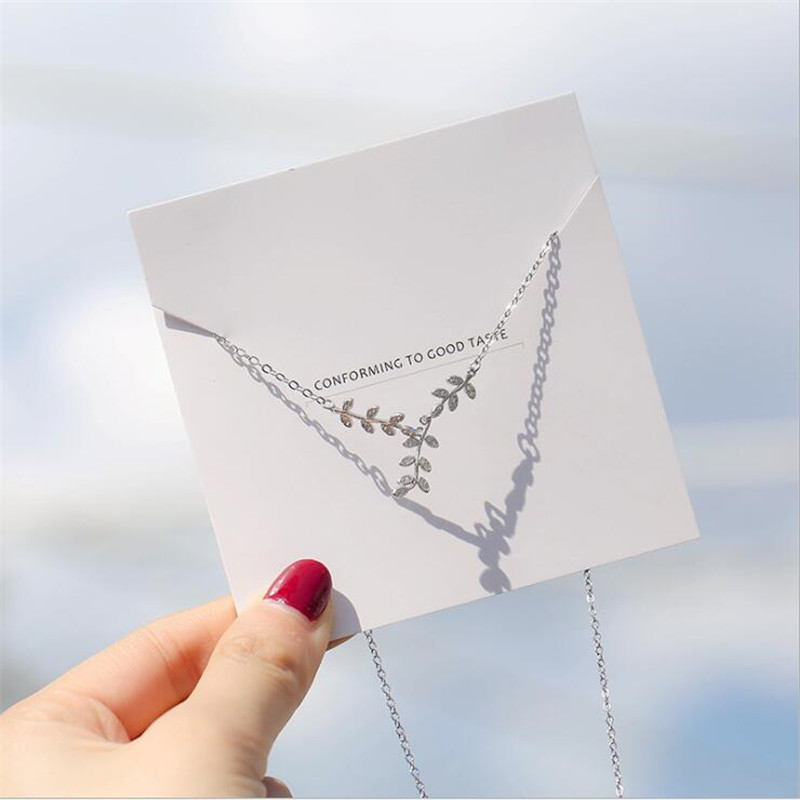 New Arrival Korean Style Accessories Frsh Leaf 925 Sterling Silver Jewelry Atmosphere Leaves Crystal Necklaces H468