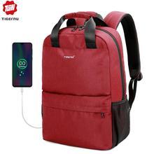 Tigernu marca casual moda feminina carregamento usb mochila escolar feminino 15.6 portátil mochilas casuais para adolescentes meninas