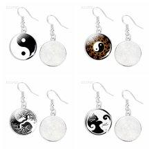 Черно белые yinyang taichi висячие серьги ювелирные изделия