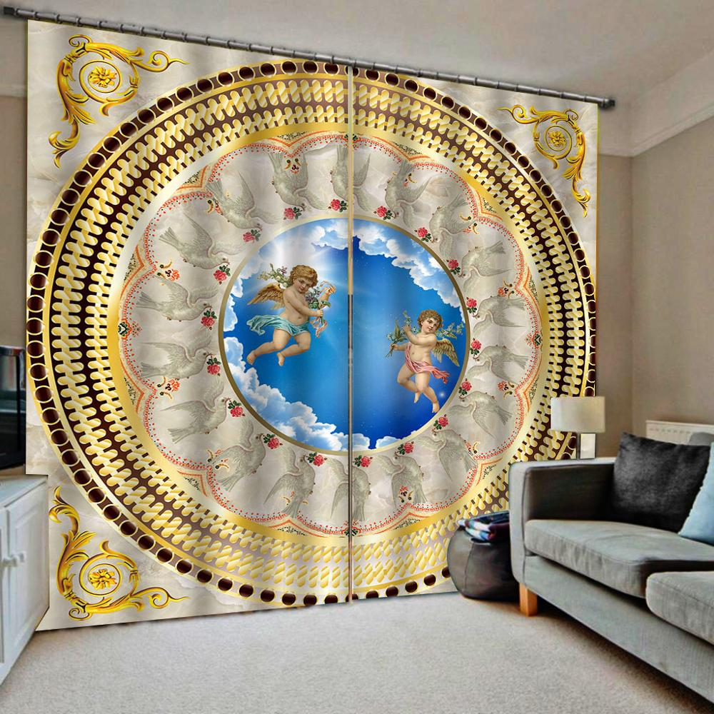 3D Curtains Custom European angel curtains for living room kids bedroom curtains Blackout window decoration