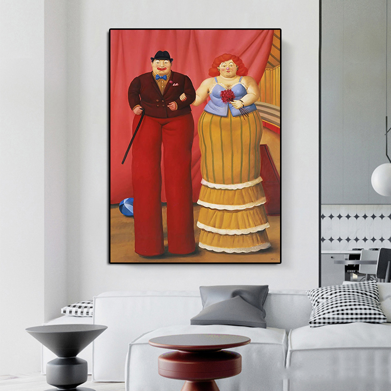 Modern Canvas Painting Famous Fernando Botero Stilt Clown Abstract Poster Print Colorful wall Art Pictures for Living Room Aisle
