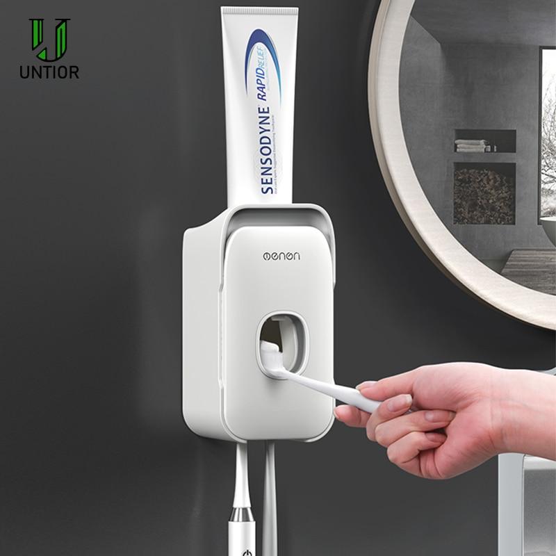 Bathroom Accessories Set Toothbrush Holder Automatic Toothpaste Dispenser Holder Toothbrush Wall Mount Rack Bathroom Tools Set