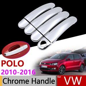 Accesorios de coche puerta Exterior cubierta de manija cromada para Volkswagen VW Polo Ameo Vento MK5 6R 6C 61 2010 Trim 2016 pegatinas