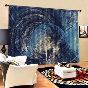 blue curtains Customized size Luxury Blackout 3D Window Curtains For Living Room Solid color curtain