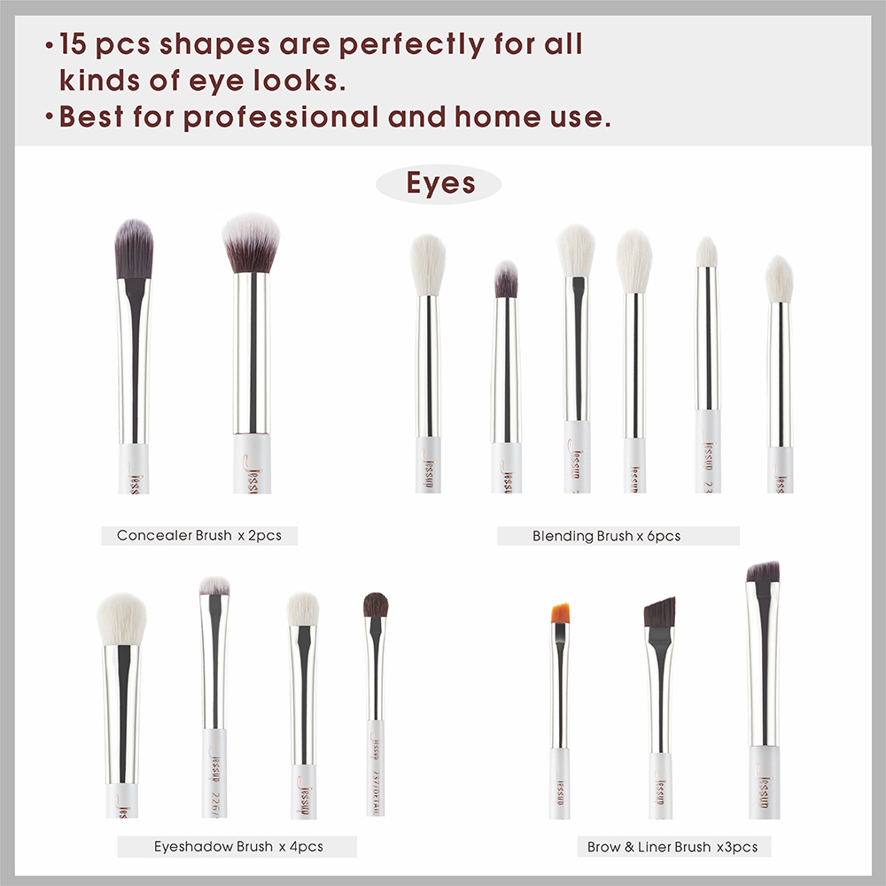 Image 4 - Jessup 15pcs makeup brushes Pearl White/Silver Synthetic Bristles maquiagem professional complete eyeshadow pencil brushes T237jessup brushesprofessional makeup brushesset cosmetic brushes -