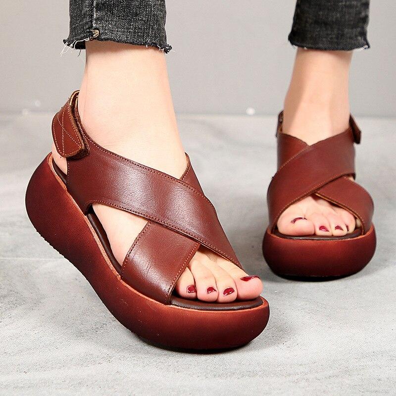 ZIMNAFR 2020 Women Sandals Retro Genuine Leather Handmade For Women Sandals  New Fashion Casual Platform Women Sandals