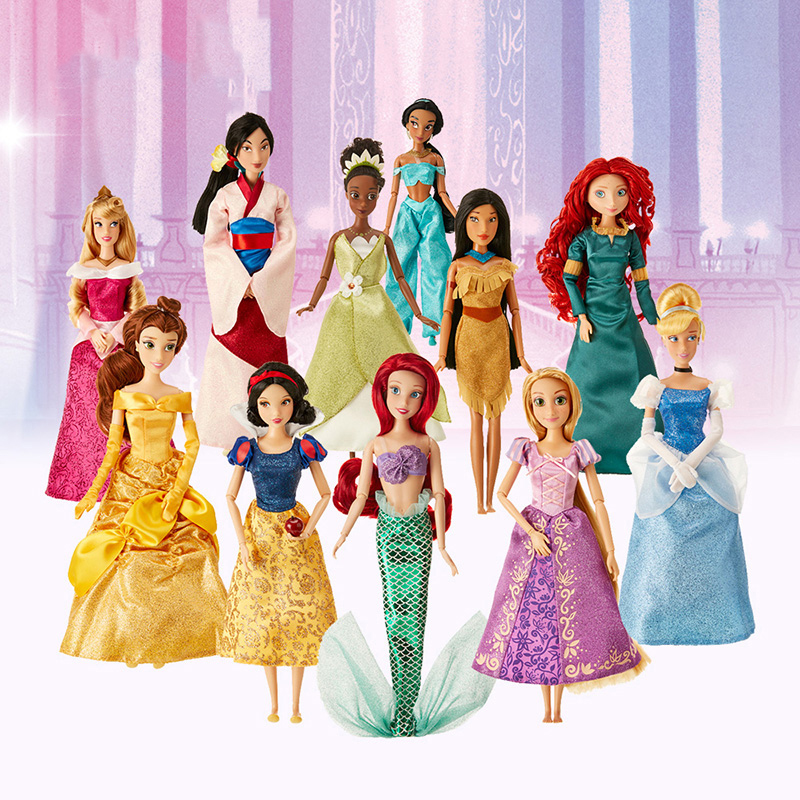 Genuine Disney Store 30CM Rapunzel Belle Mulan Merida Mermaid Multi Jasmine Joint Princess Doll Toys For Children Christmas Gift