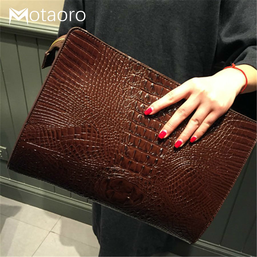 New Handbag Crocodile Clutches Leather Ladies Hand Bags Envelope Women Messenger O Bag Praty Evening Handbags Purses Sac A Main