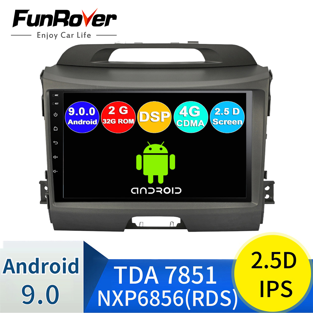 FUNROVER 2G RAM 32G ROM android 9,0 2.5D + IPS radio de coche reproductor de dvd para kia sportage 2009-2015 coche multimedia estéreo navegación BT