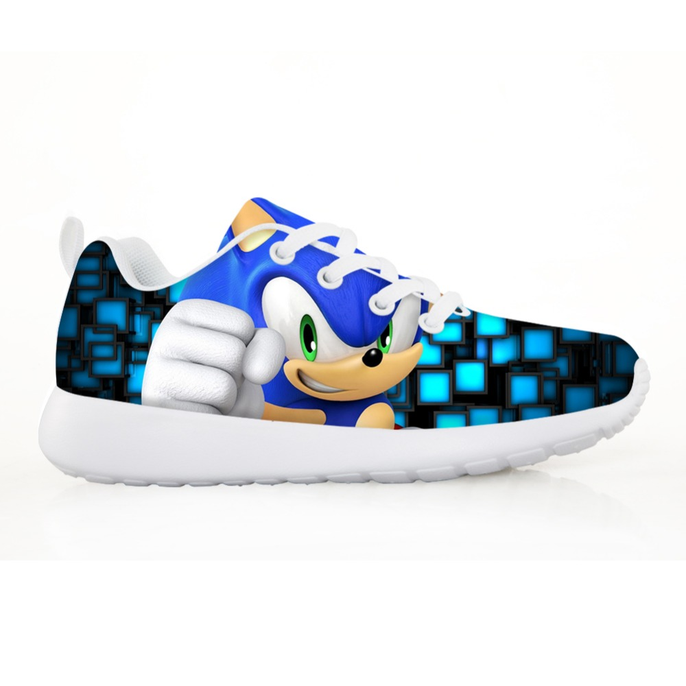 Custom IMAGE Children Shoes Boys Fahion Sneakers For Kids Girl Sonic The Hedgehog Casual Flats Breath Lace-up Shoes Lightweight
