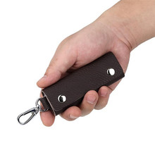 Leather Key Holder Unisex Key Ring Organizer Accessories Handmade Portable Convenient Simple Solid Color Key Holder