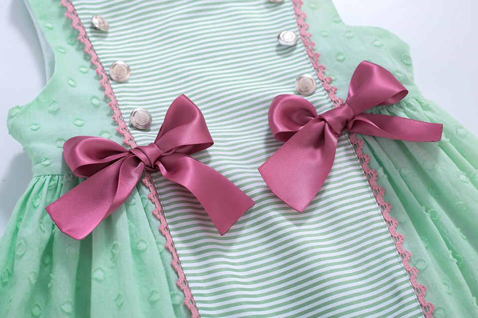 Pettigirl Thiết Kế Mới Tập Đi Bộ Quần Áo Bé Gái Sọc Bé Gái Mùa Hè Xanh Đầm Dự Tiệc Cho Bé Gái Trẻ Em Boutique