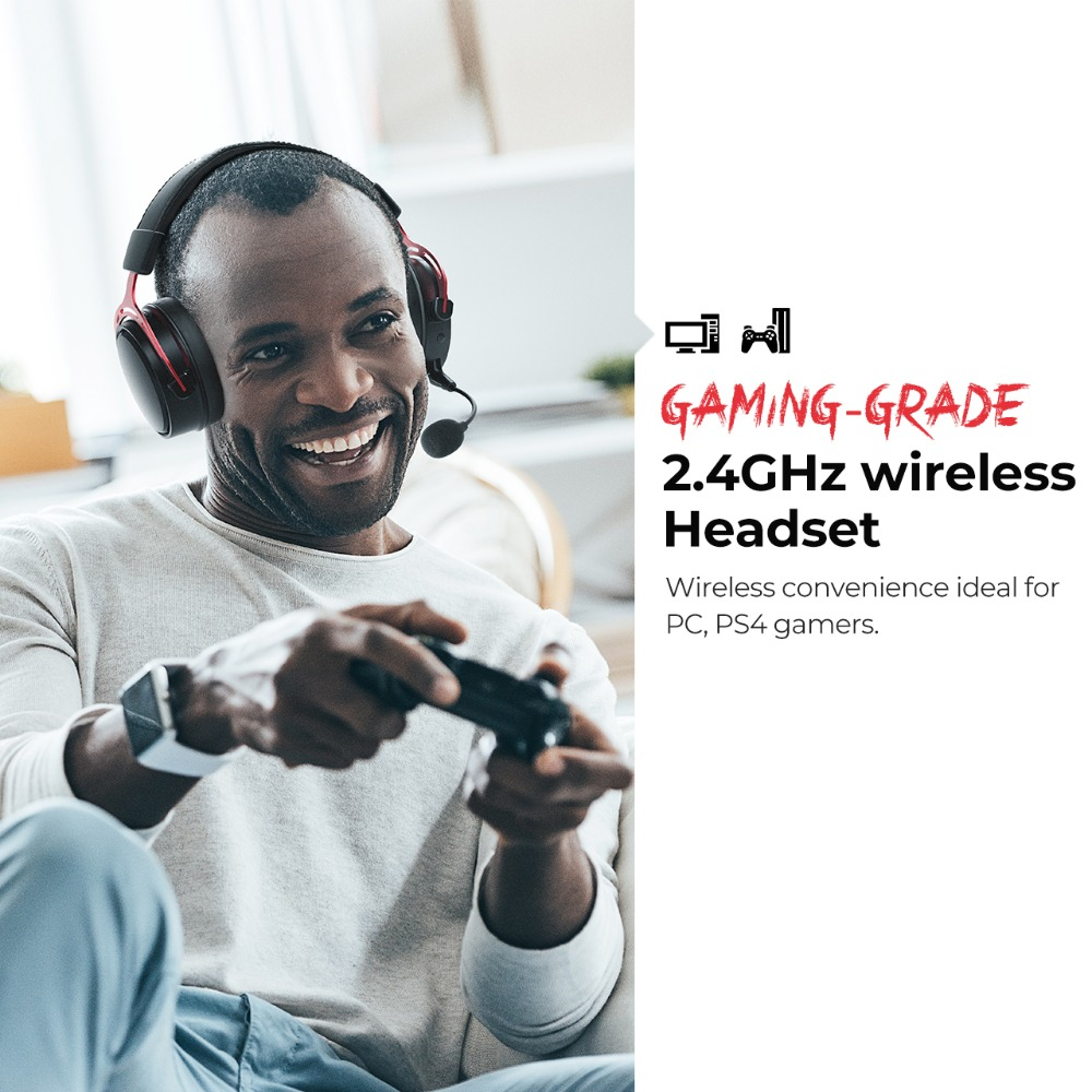Mpow BH415 Gaming Headset 2.4GHz Wireless Headphones 3.5mm Wired Earphone With Noise Canceling Mic For PC Gamer For PS4 Xbox One (1)