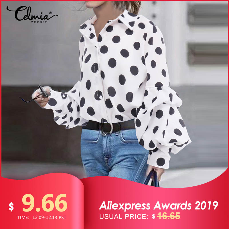 S-5XL Women Polka Dot Tops And Blouses 2019 Celmia Autumn Lantern Sleeve Casual Shirts Retro Loose Buttons Female Party Blusas 7