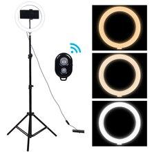 10 ב Selfie טבעת אור עם חצובה צילום עגול תאורת מנורת LED ניתן לעמעום Ringlight עבור Youtube איפור וידאו צילום סטודיו