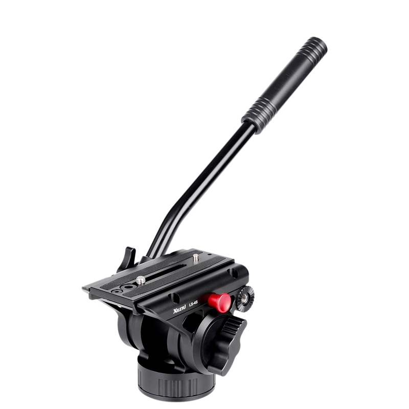 XILETU LS-4S Handgrip Video Photography Fluid Drag Hydraulic Tripod Head and Quick Release Plate for Manfrotto