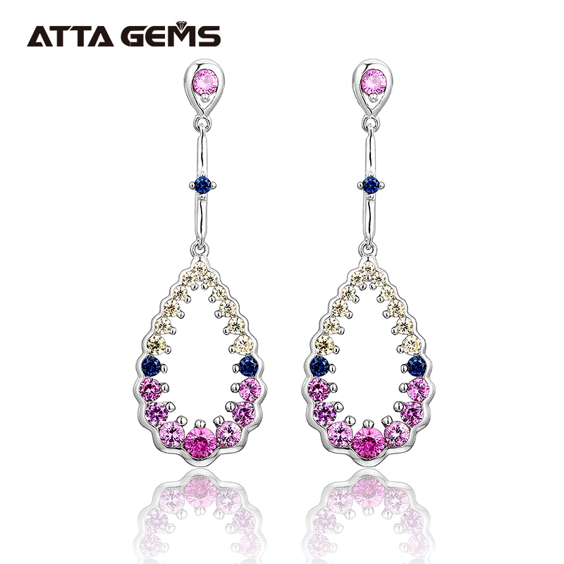 Pink Sapphire Sterling Silver Earring for Women 2020 New Designs S925 for Elegant Lady Created Sapphire Earring Anniverary Gift