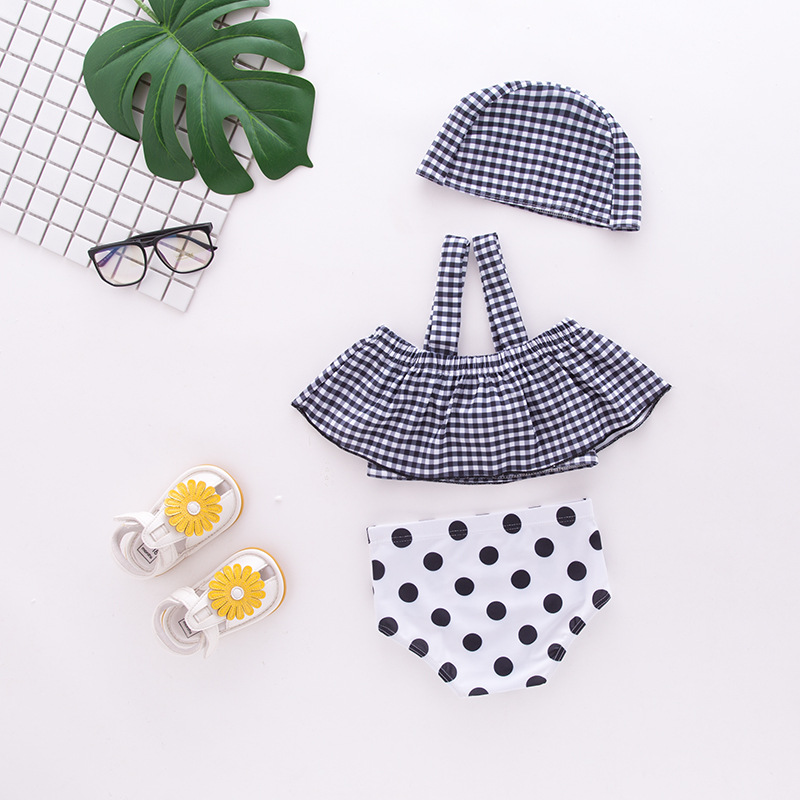 Girls' Two-piece Swimsuit Black And White Lattices Camisole Bow Swimwear Children Hot Springs Tour Bathing Suit