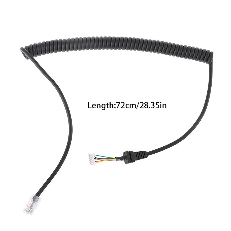 Black Spring Mic Line Microphone Cable For FT-7800 FT-8800 FT-8900 Walkie Talkie